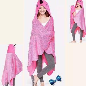 Justice Pink Flamingo Cozy Fleece hooded Blanket